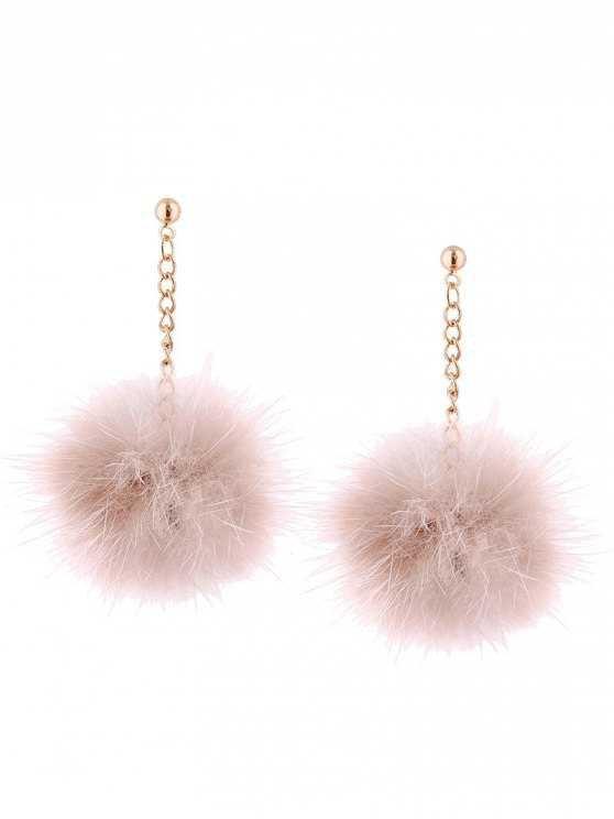 Fuzzy Ball Chain Drop Earrings - LIGHT PINK