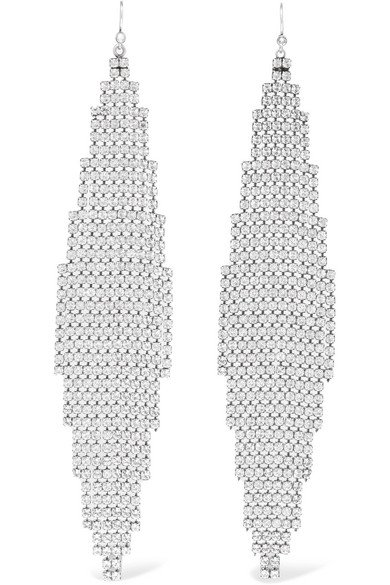 Saint Laurent | Silver-tone crystal earrings | NET-A-PORTER.COM
