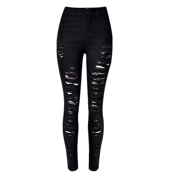 High Wasted Black Ripped Jeans