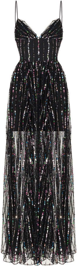 Sleeveless Sequined Tulle Gown