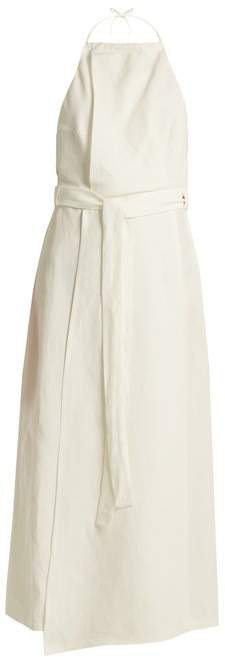 Split Skirt Linen Halterneck Dress - Womens - Ivory