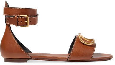 Garavani Go Logo Leather Sandals - Tan
