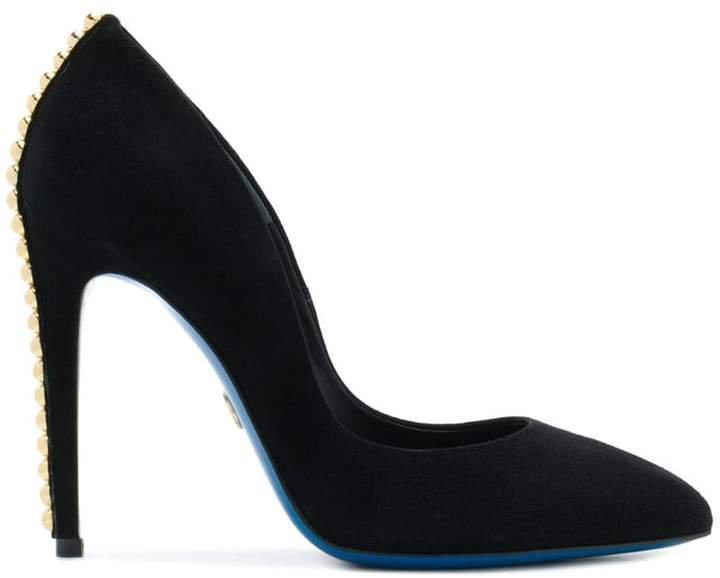 stud-embellished pointed-toe pumps