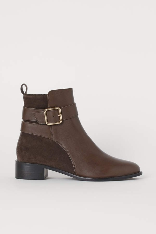 Leather Ankle Boots - Brown
