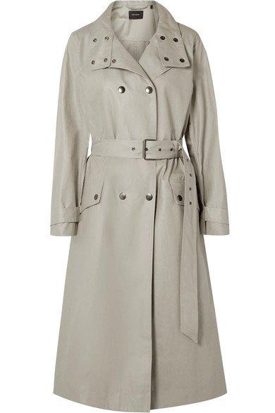 Isabel Marant | Tatiana double-breasted coated cotton-canvas trench coat | NET-A-PORTER.COM