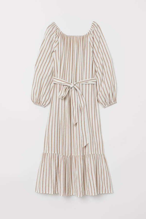 Long Dress with Tie Belt - White