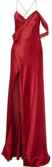 Michelle Mason - Draped Silk-charmeuse Gown - Red