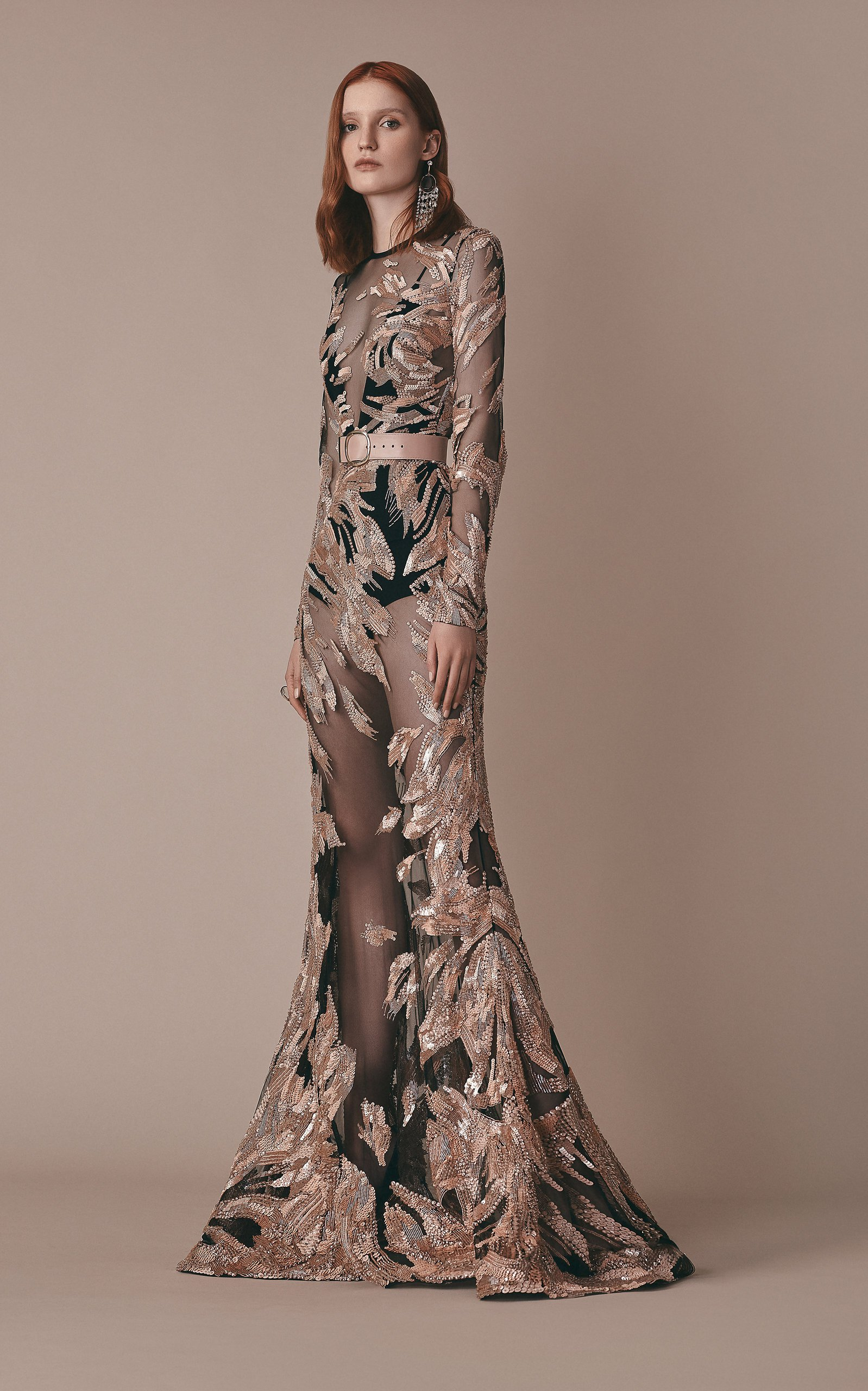 Sequin Embellished Long Sleeve Tulle Gown by Elie Saab   Moda Operandi