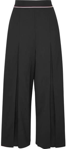 Cropped Wool-crepe Wide-leg Pants - Black