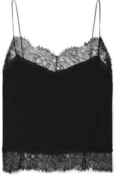 Lace-trimmed Silk-georgette Camisole - Black