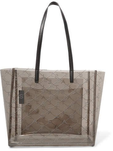 Faux Leather-trimmed Perforated Pu Tote - Black