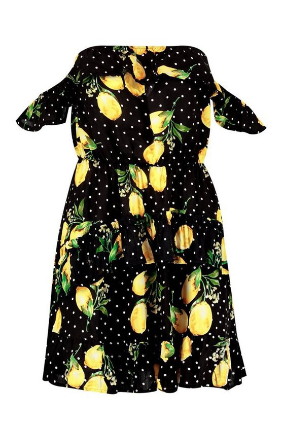 Lemon + Polka Dot Ruffle Shoulder Mini Dress | Boohoo