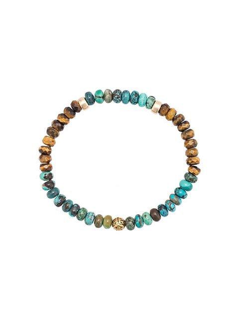 Nialaya Jewelry tiger eye and turquoise beaded bracelet