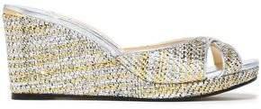 Metallic Woven Wedge Sandals