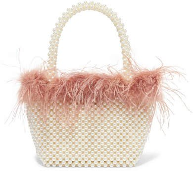 Mina Small Feather-trimmed Faux Pearl Tote - White
