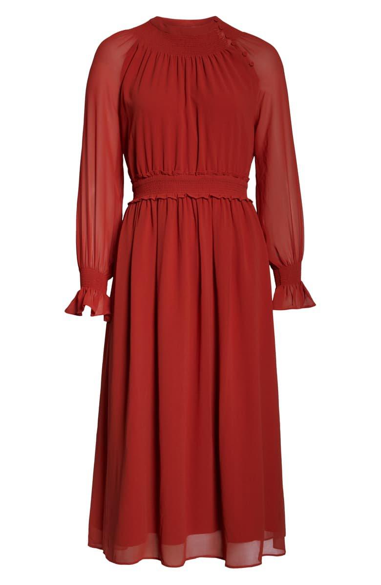 Chelsea28 Smocked Neck Long Sleeve Chiffon Midi Dress red