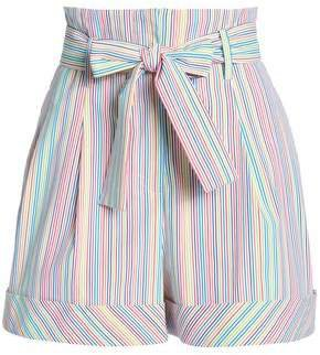 Belted Striped Cotton-blend Shorts