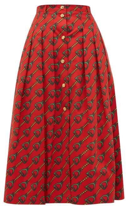 Panama Horsebit Print Cotton Skirt - Womens - Orange Multi