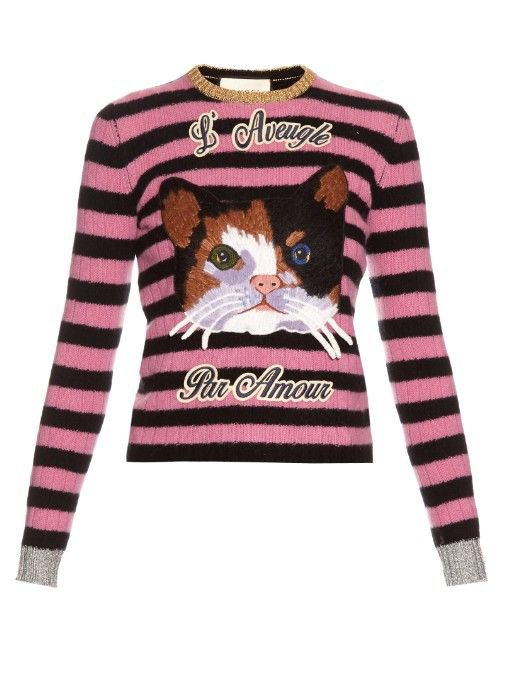 GUCCI Cat-Embroidered Cashmere And Wool-Blend Sweater
