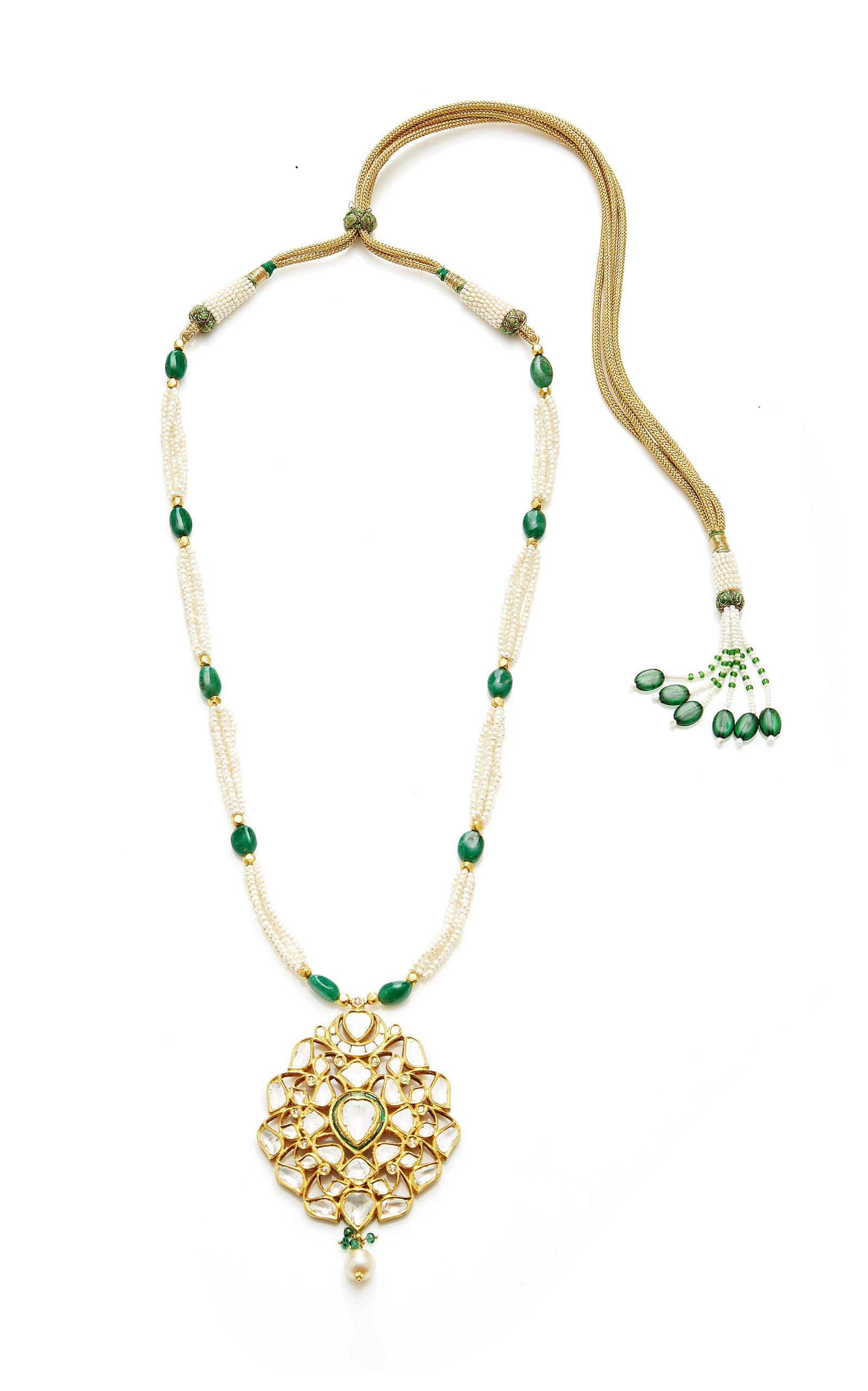 Sanjay Kasliwal 22k Gold Ruby Diamond and Pearl Raj Pendant