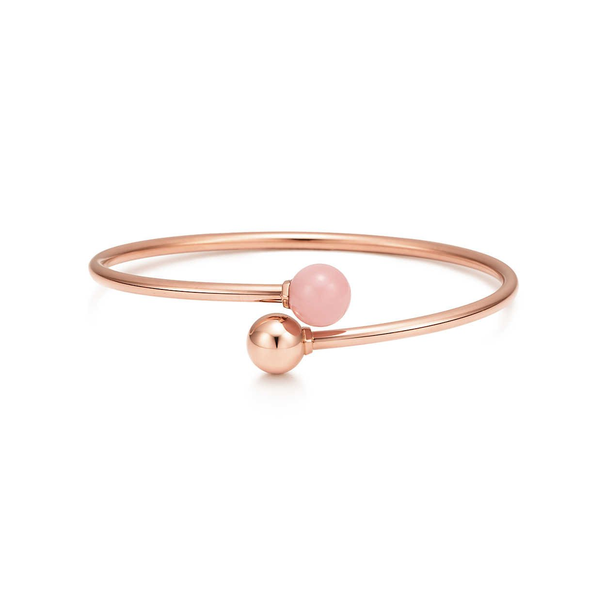 59b269604 Tiffany HardWear ball bypass bracelet in 18k rose gold with pink quartz,  medium.