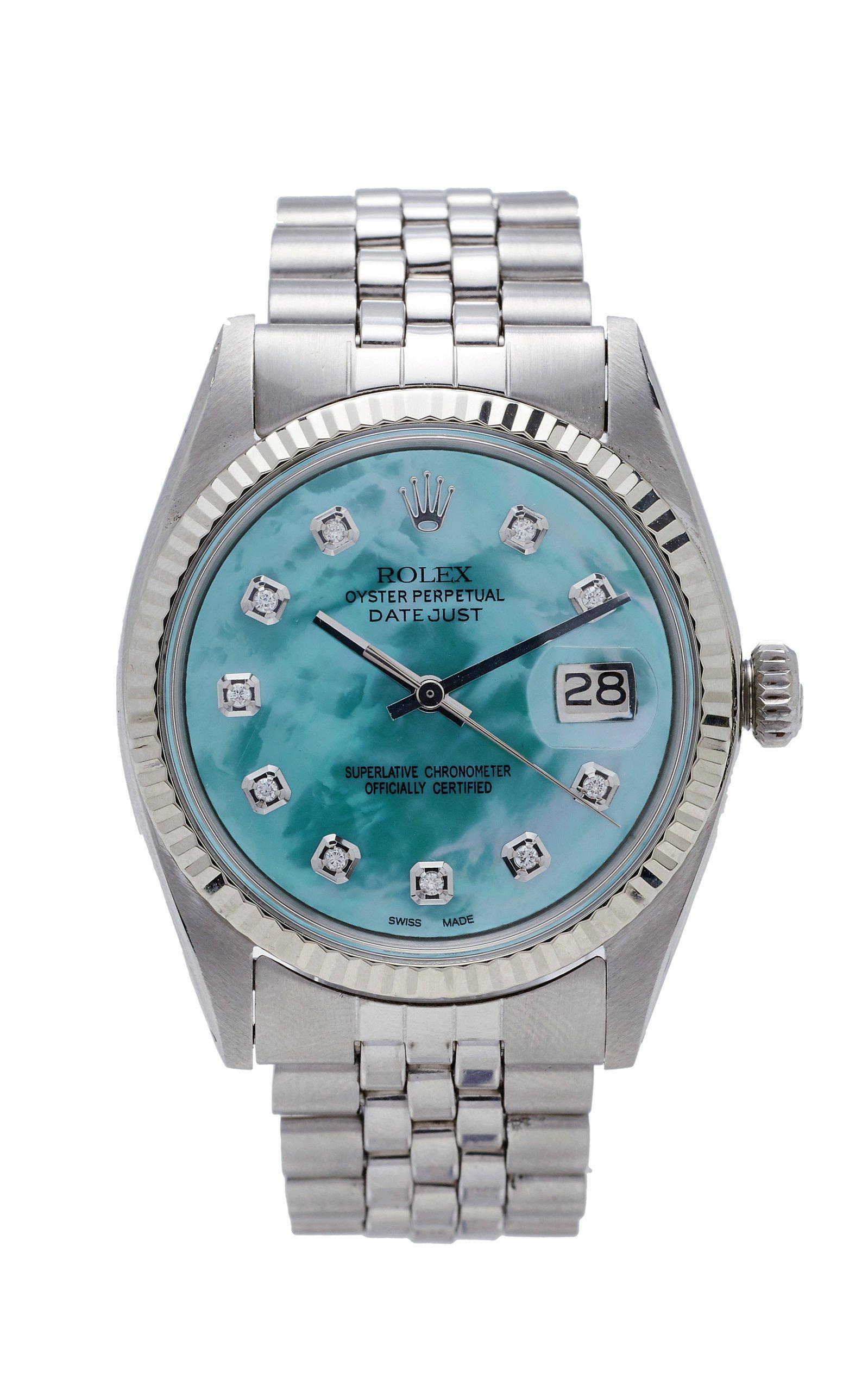 Vintage Watches Rolex Datejust 36mm Aqua Green Pearlized Diamond Dial