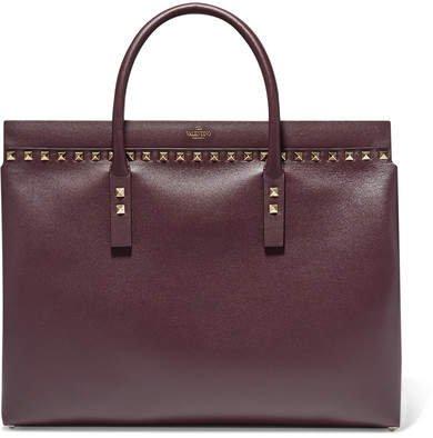 Garavani Rockstud Medium Leather Tote - Dark purple