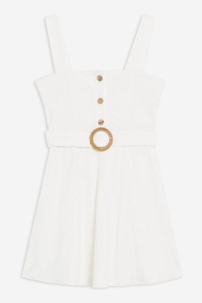 Button Belt Mini Dress | Topshop White