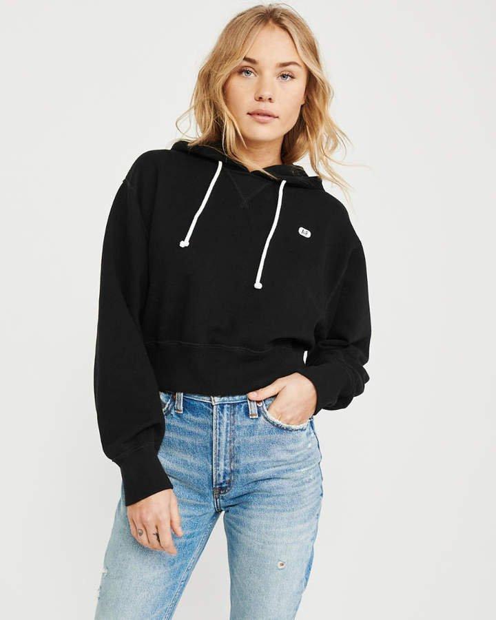 A&F Women's Cropped Hoodie in Black - Size L