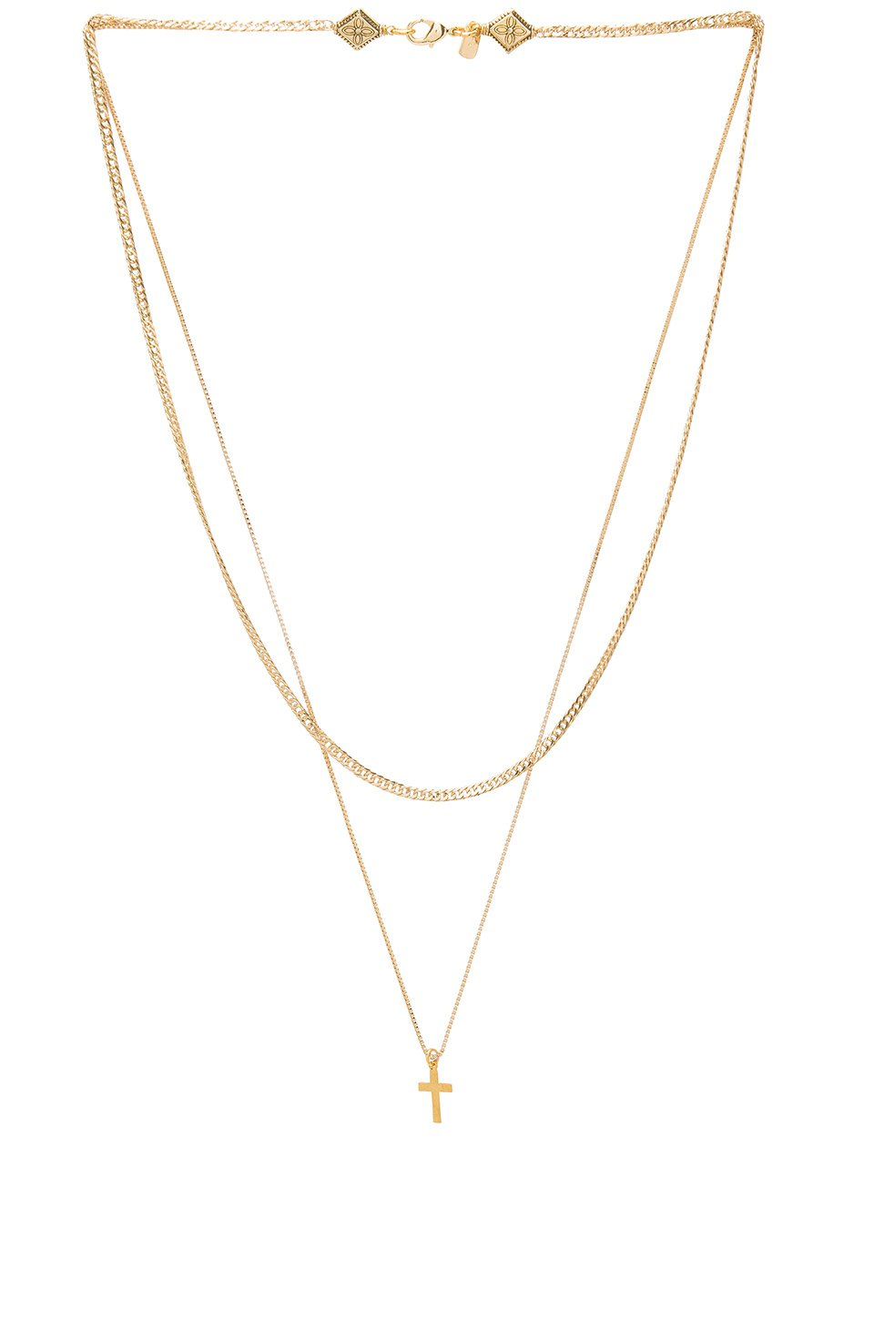 Simple Layered Chain Cross Necklace