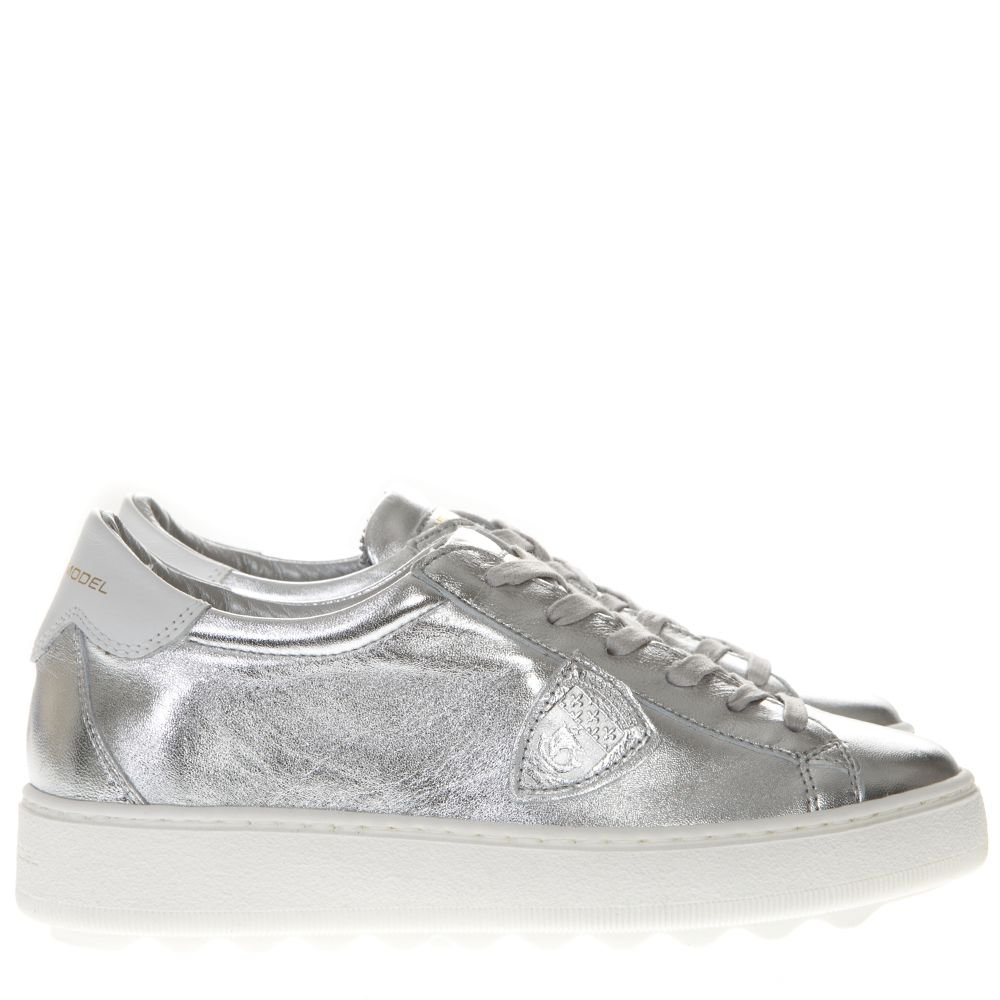 Philippe Model Metallic Silver Leather Sneakers