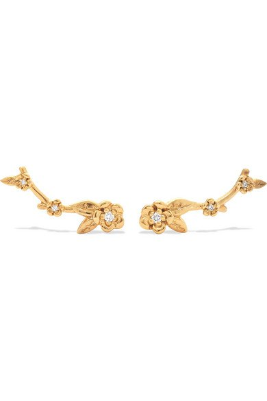 Meadowlark | Alba gold-plated diamond earrings | NET-A-PORTER.COM