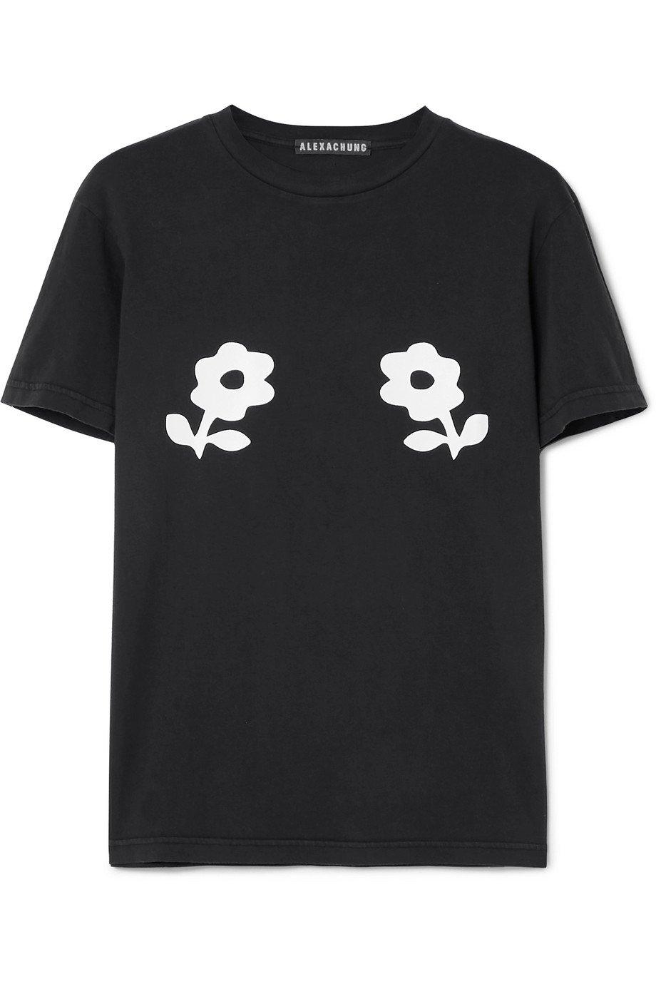 ALEXACHUNG | Printed cotton-jersey T-shirt | NET-A-PORTER.COM