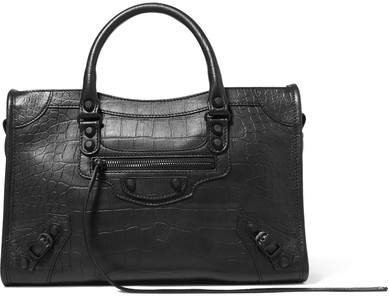 Classic City Croc-effect Leather Tote - Black