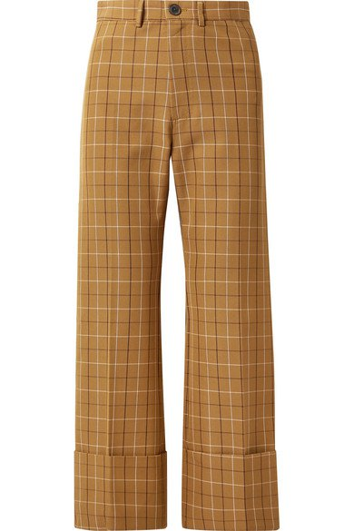 SEA | Poirot cropped checked cotton-blend twill straight-leg pants | NET-A-PORTER.COM