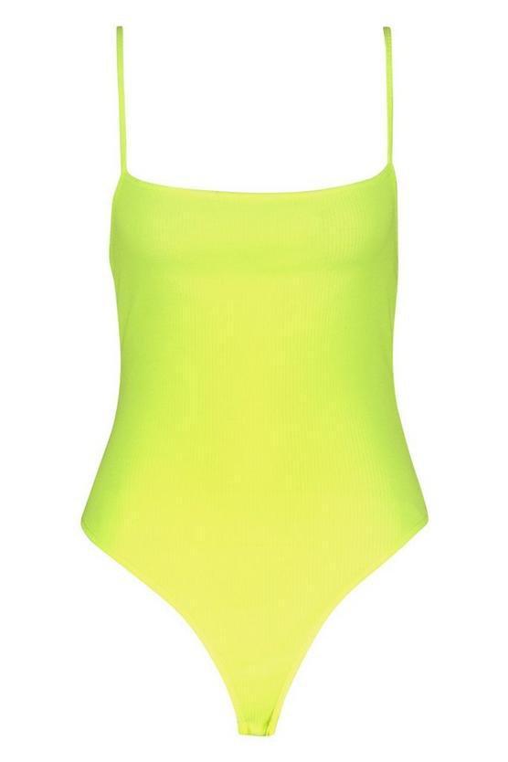 Rib Neon Square Neck Thong Bodysuit | Boohoo