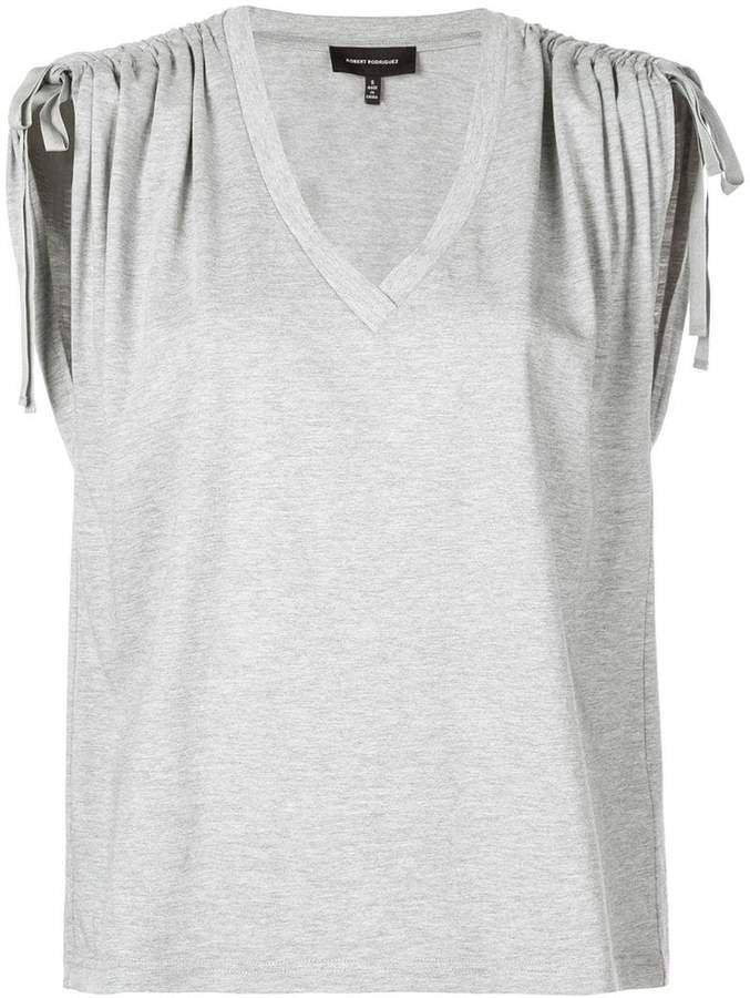 ruched shoulder tank top
