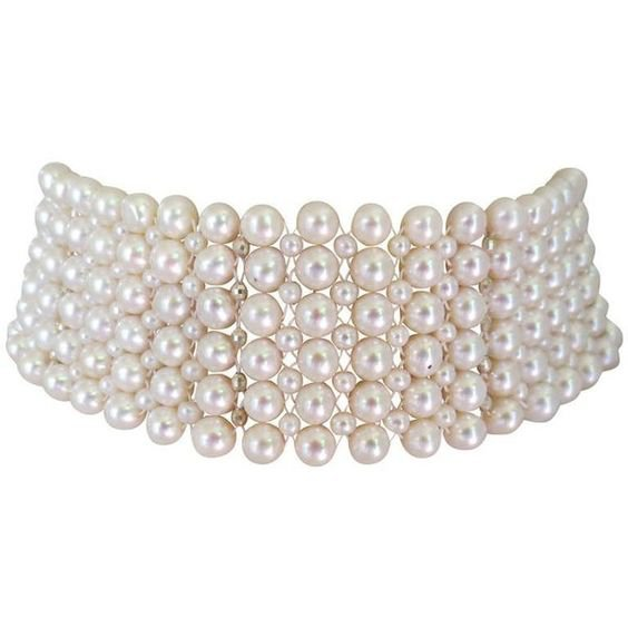 Woven Pearl Tall Choker W. Rhodium Plated Silver Faceted