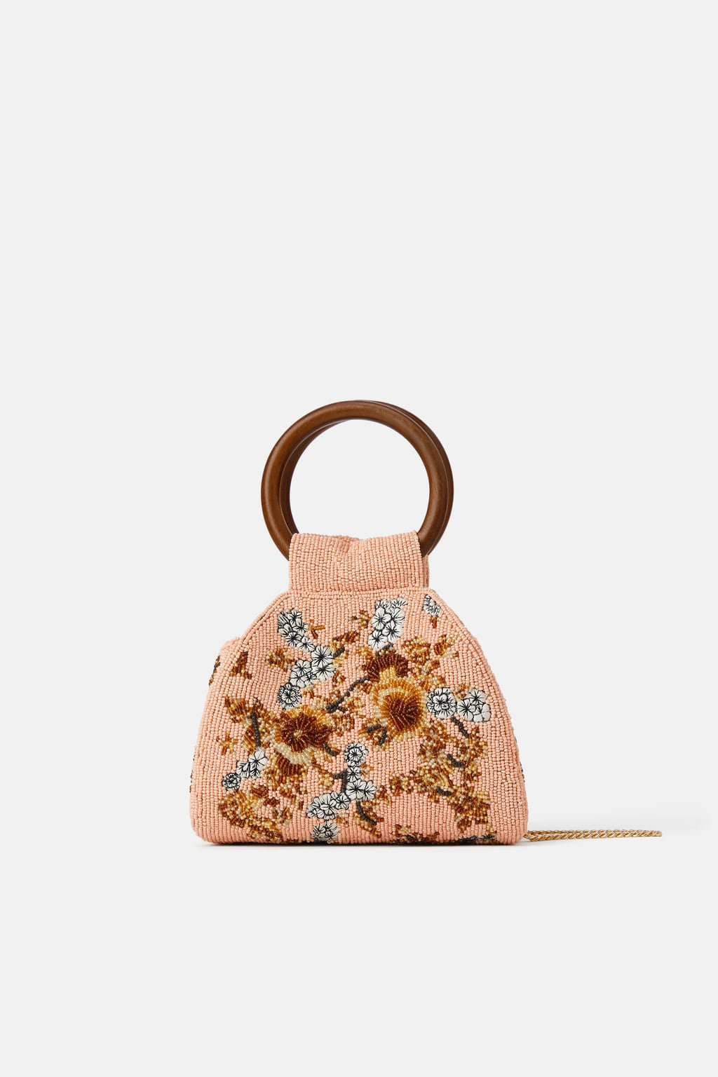 BEADED CROSSBODY BAG WITH WOODEN HANDLES - NEW IN-WOMAN | ZARA United States pink