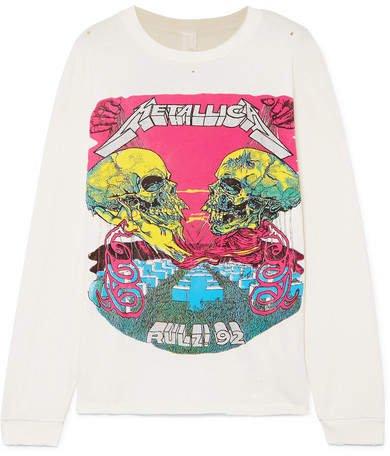MadeWorn - Metallica Distressed Glittered Printed Cotton-jersey T-shirt