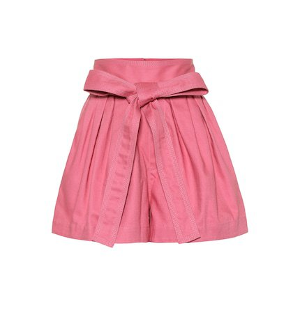 Belted cotton twill shorts