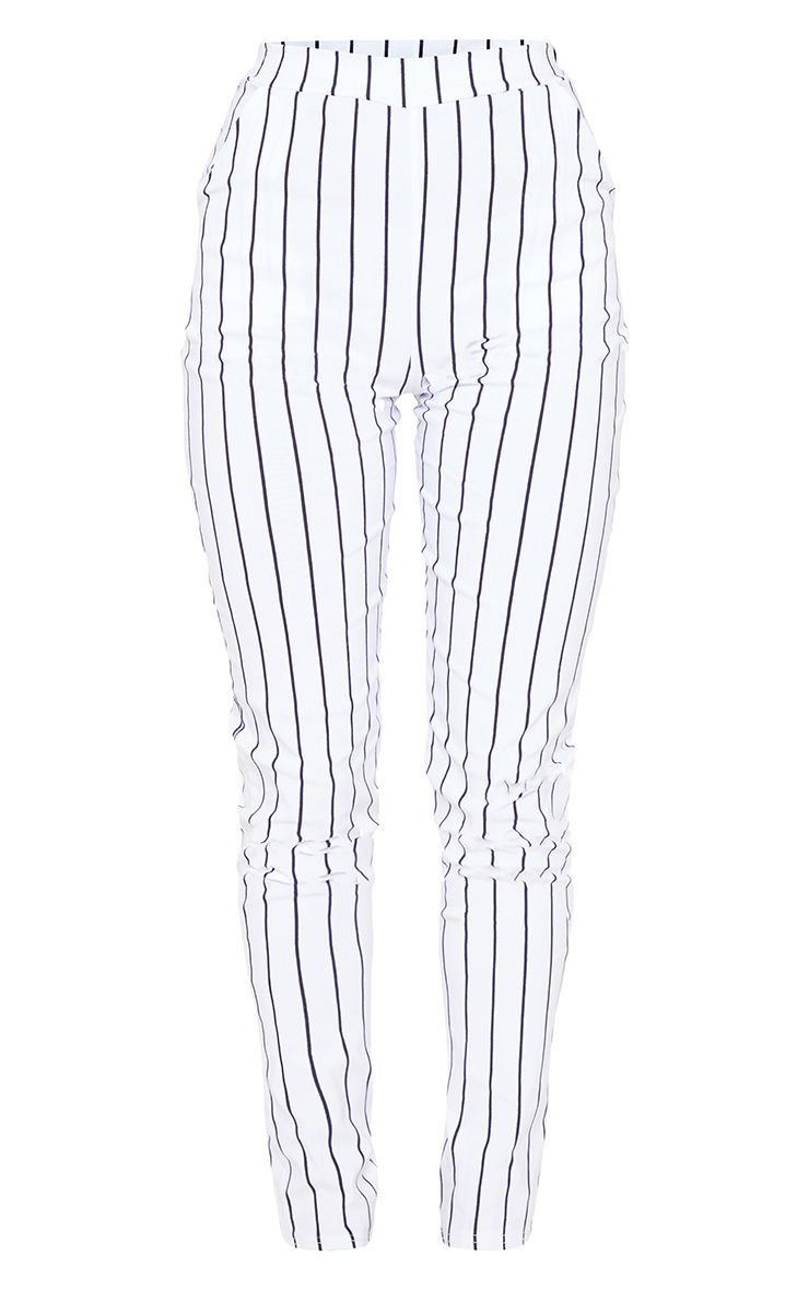 White Stripe High Waisted Skinny Trouser | PrettyLittleThing