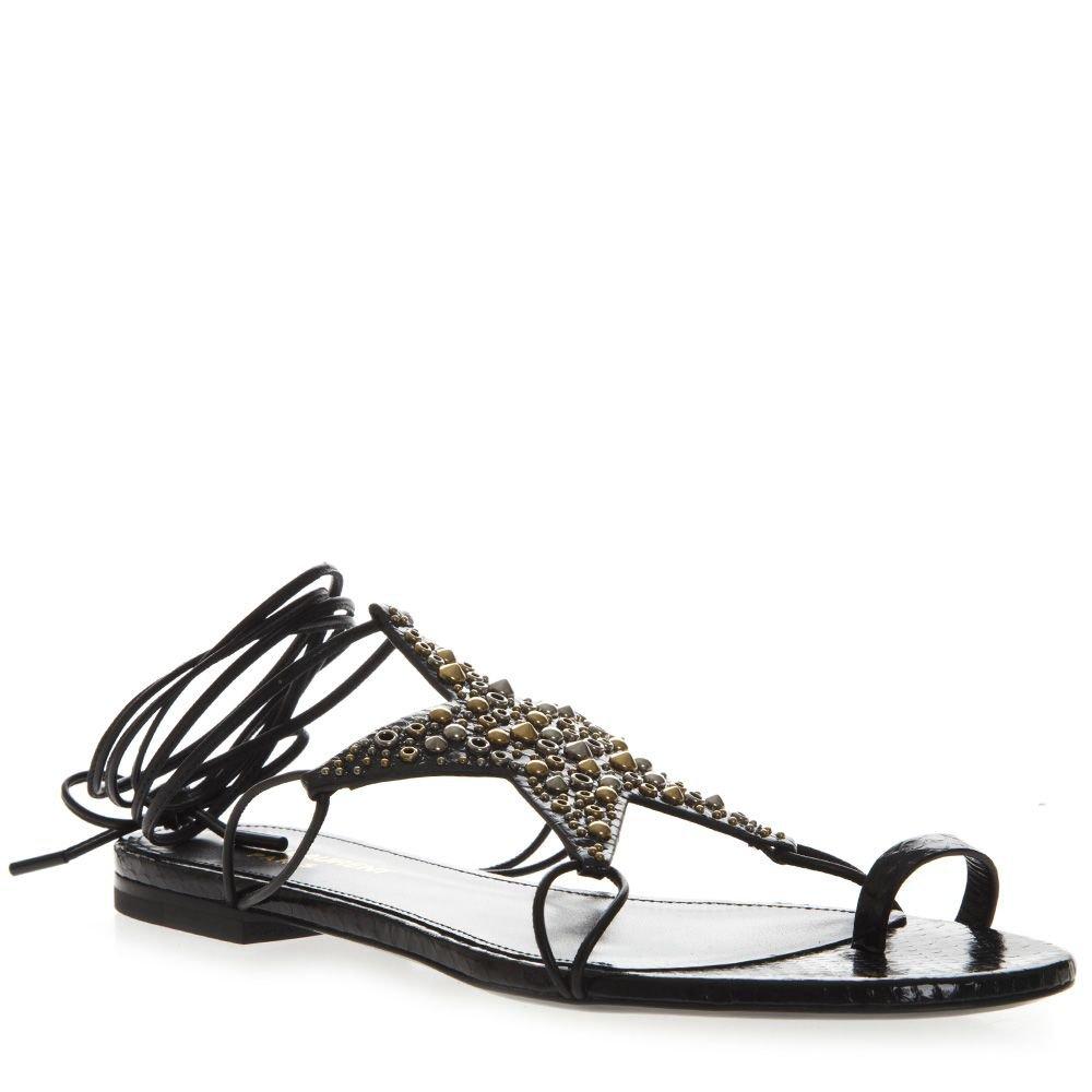 Saint Laurent Black Leather Sandals With Star Decoration