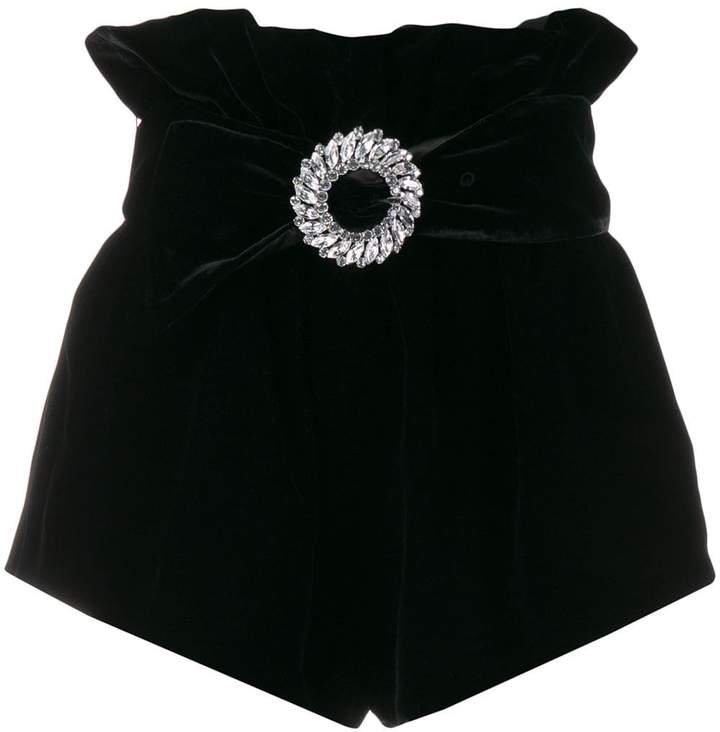 embellished velvet shorts