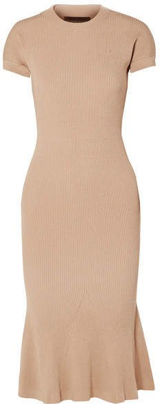 Shiori Fluted Metallic Ribbed-knit Dress - Sand