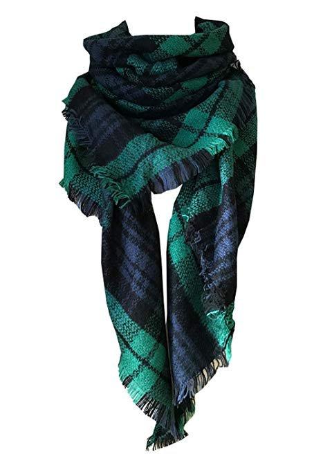 Dark Green Plaid Blanket Scarf