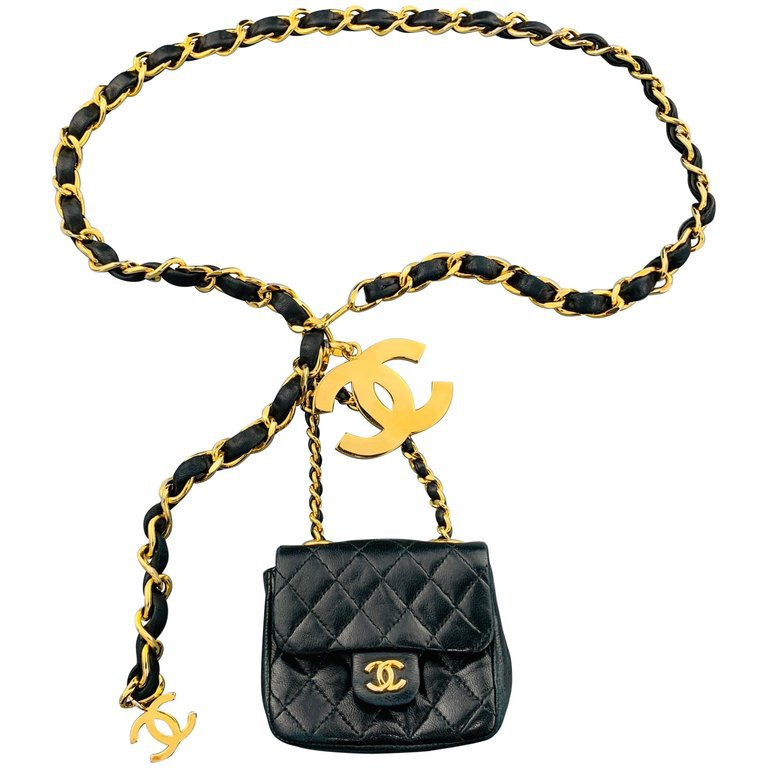 CHANEL Vintage Gold Tone Black Leather Woven Chain Mini Purse Pouch Belt For Sale at 1stdibs