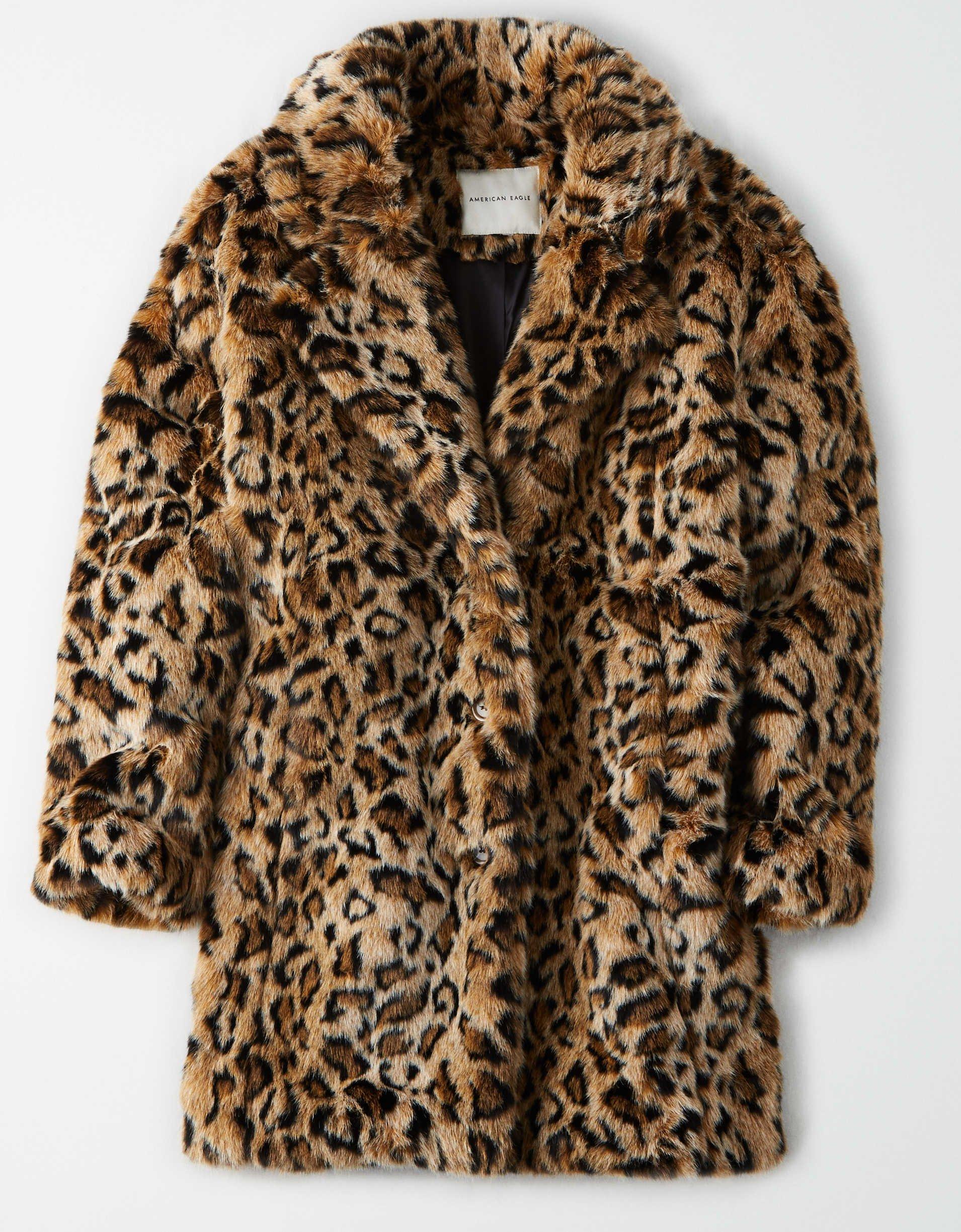 AE Faux Fur Leopard Print Coat brown