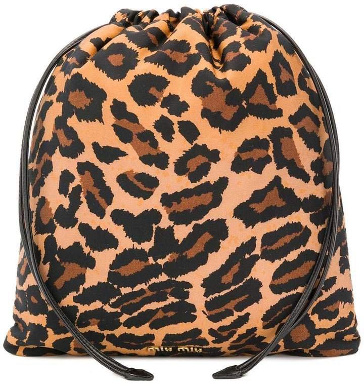 leopard print drawstring clutch
