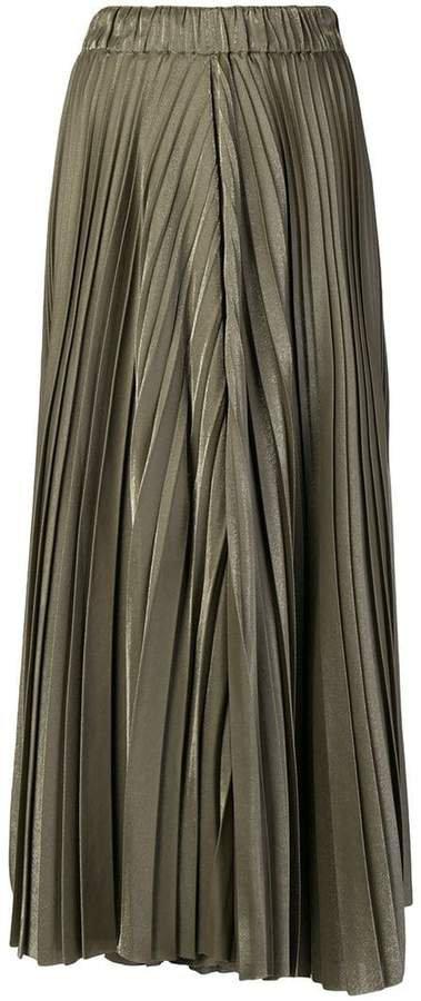 metallic pleated skort